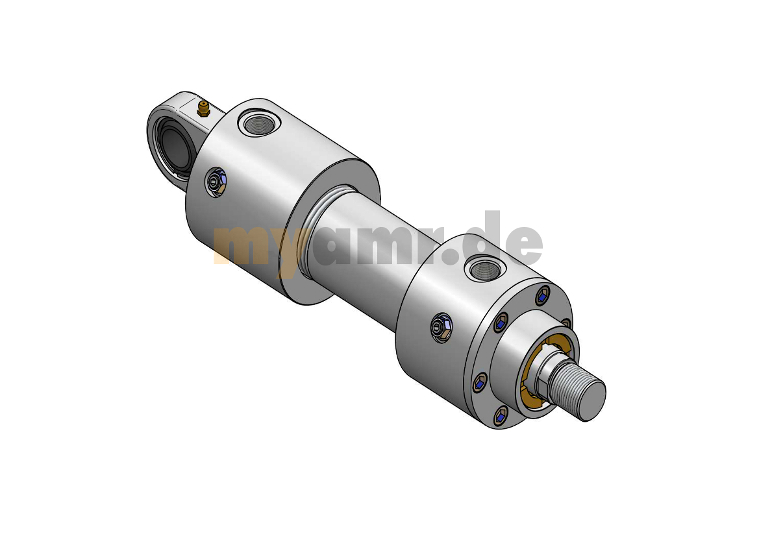 Hydrozylinder nach ISO 6020/1 MP5 mit Gelenklager 63/45x1300 Hub