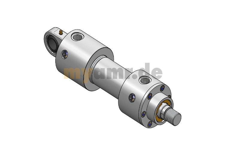Hydrozylinder nach ISO 6020/1 MP5 mit Gelenklager 125/70x1100 Hub