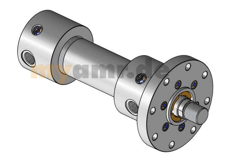 Hydrozylinder nach ISO 6020/1 MF3 mit Rundflansch am Kopf 100/56x0600 Hub